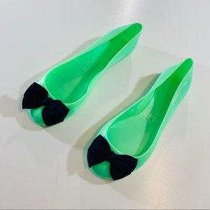 J Crew Rainy Day Ballet Flat Bow Jellies Green 6